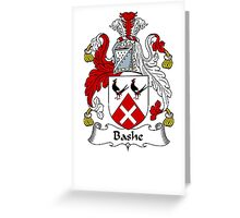 Coat of arms (family crest) for last-name or surname Bashe . Heraldry banner for your name. Greeting Card