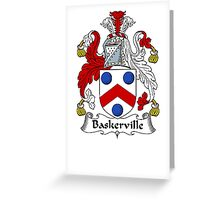 Coat of arms (family crest) for last-name or surname Baskerville . Heraldry banner for your name. Greeting Card