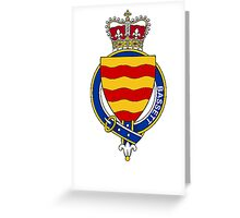 Coat of arms (family crest) for last-name or surname Bassett (England) . Heraldry banner for your name. Greeting Card