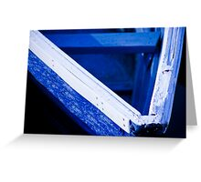 Blue Boat, White Gunnel Greeting Card