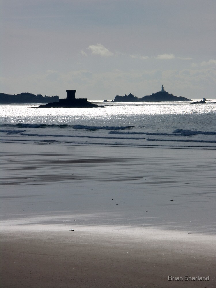 Martello Tower and La Corbière Lighthouse from St Ouen's beach, Jersey, Channel Islands, United Kingdom by Brian Sharland
