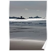 Martello Tower and La Corbière Lighthouse from St Ouen's beach, Jersey, Channel Islands, United Kingdom Poster
