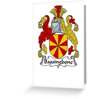 Coat of arms (family crest) for last-name or surname Bassingbone . Heraldry banner for your name. Greeting Card
