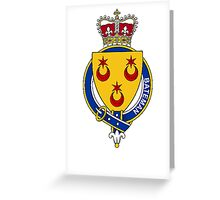 Coat of arms (family crest) for last-name or surname Bateman (England) . Heraldry banner for your name. Greeting Card