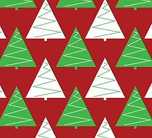 Red & Green Christmas Trees by lawleypop