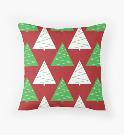 Red & Green Christmas Trees Throw Pillow