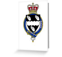Coat of arms (family crest) for last-name or surname Bates (England) . Heraldry banner for your name. Greeting Card