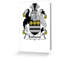 Coat of arms (family crest) for last-name or surname Bathhurst . Heraldry banner for your name. Greeting Card