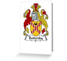 Coat of arms (family crest) for last-name or surname Battersby . Heraldry banner for your name. Greeting Card