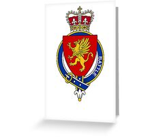 Coat of arms (family crest) for last-name or surname Battle (Scotland) . Heraldry banner for your name. Greeting Card