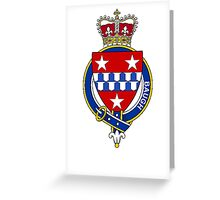 Coat of arms (family crest) for last-name or surname Baugh (Wales) . Heraldry banner for your name. Greeting Card