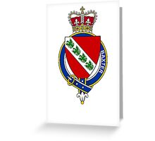 Coat of arms (family crest) for last-name or surname Baxter (England) . Heraldry banner for your name. Greeting Card