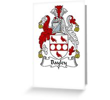 Coat of arms (family crest) for last-name or surname Bayley . Heraldry banner for your name. Greeting Card