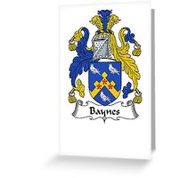Coat of arms (family crest) for last-name or surname Baynes . Heraldry banner for your name. Greeting Card