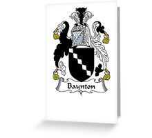 Coat of arms (family crest) for last-name or surname Baynton . Heraldry banner for your name. Greeting Card