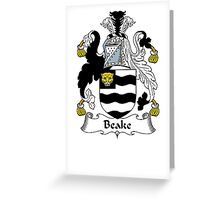 Coat of arms (family crest) for last-name or surname Beake . Heraldry banner for your name. Greeting Card