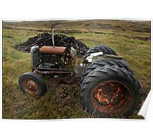 Tractor in the peat cuttings, North Uist Poster