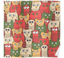 Pattern with funny red owls Poster