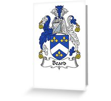 Coat of arms (family crest) for last-name or surname Beard . Heraldry banner for your name. Greeting Card