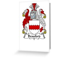 Coat of arms (family crest) for last-name or surname Beauford . Heraldry banner for your name. Greeting Card
