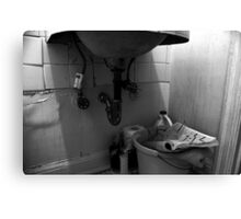 under the bathroom sink Canvas Print
