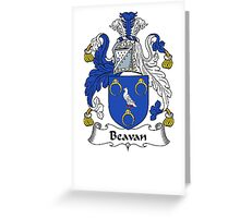 Coat of arms (family crest) for last-name or surname Beavan . Heraldry banner for your name. Greeting Card