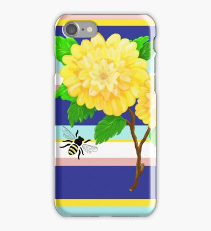 Painted Yellow Roses over Stripes iPhone Case/Skin
