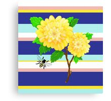 Painted Yellow Roses over Stripes Canvas Print