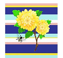 Painted Yellow Roses over Stripes Photographic Print