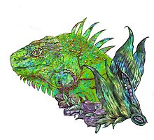 Iguana Cool with changeable background by Carol  Cavalaris