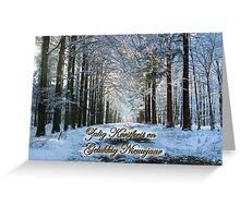 Laan door besneeuwde wouden - Kerst- en Nieuwjaar Greeting Card