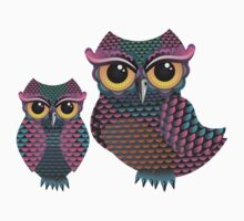 Pink and Blue Color Owl Kids Clothes