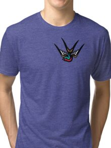 Swallow (sticker and white tee version) Tri-blend T-Shirt
