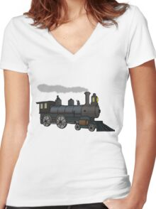 Steam Train (2) Women's Fitted V-Neck T-Shirt