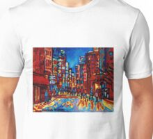 CITY AFTER THE RAIN DOWNTOWN MONTREAL SKYLINE STREET SCENE PAINTING Unisex T-Shirt