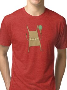 Gary the Rabbit Eating Icecream - Part of the 'Hungry Monsters Collection' Tri-blend T-Shirt