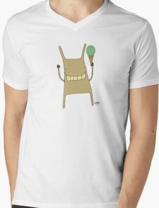 Gary the Rabbit Eating Icecream - Part of the 'Hungry Monsters Collection' Mens V-Neck T-Shirt