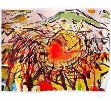 fuji burn glow.... a plan view behind a melting natsu sun Poster