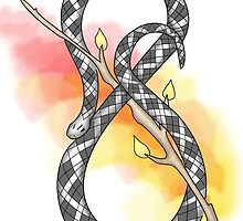 Infinity Snake w/ Red Yellow Watercolour by mitchman5