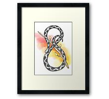Infinity Snake w/ Red Yellow Watercolour Framed Print