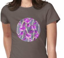 Simple Iris Pattern in Warm Magenta Womens Fitted T-Shirt