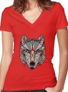 Cosmic Wolf Women's Fitted V-Neck T-Shirt