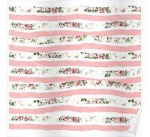 Elegant Rose Floral Print and Painted Brush Stripes Poster