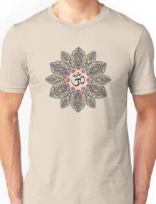 Om (Aum) Symbol in Block Print Paisley Mandala Unisex T-Shirt