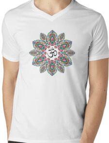 Om (Aum) Symbol in Block Print Paisley Mandala Mens V-Neck T-Shirt