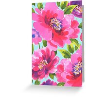 Loose watercolour peony flowers Greeting Card