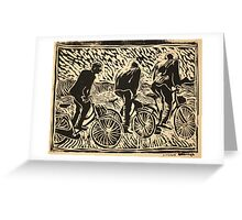Rising from the saddle, three riders Greeting Card