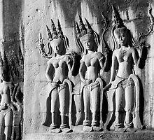 Apsara dancers - Angkor Wat by Ramona Frederickson