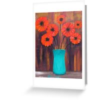 Flowers in Turquoise Vase Greeting Card