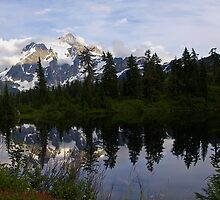 mt shuksan over picture lake, wa, usa by dedmanshootn